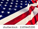 usa flag background. close up.... | Shutterstock . vector #1105665200