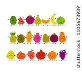 funny fruits  character set for ... | Shutterstock .eps vector #1105673939