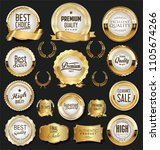 golden retro labels badges... | Shutterstock .eps vector #1105674266