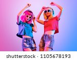 dj girl with pink blond fashion ... | Shutterstock . vector #1105678193