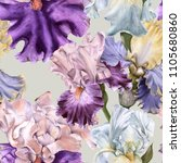background with iris. seamless... | Shutterstock . vector #1105680860