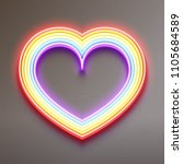neon glowing rainbow heart ... | Shutterstock .eps vector #1105684589