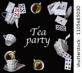 Stock photo wonderland background mad tea party cups teapot and playing cards falling down the rabbit hole 1105685030