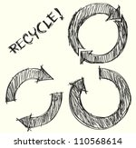 hand drawn recycle circle arrow ... | Shutterstock .eps vector #110568614