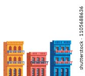 colorful buildings. houses in... | Shutterstock .eps vector #1105688636