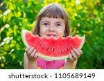 a child eats watermelon.... | Shutterstock . vector #1105689149