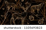 Stock vector seamless pattern with tree branches forest animals and birds deer fox hare squirrel wolf 1105693823