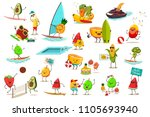 funny fruits and vegetables are ... | Shutterstock .eps vector #1105693940