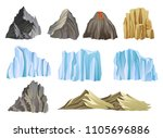 Flat Vector Set With Mountains  ...