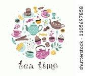tea time poster concept. tea...   Shutterstock .eps vector #1105697858
