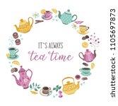 tea time poster concept. tea... | Shutterstock .eps vector #1105697873