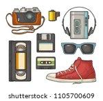 set retro technology object....   Shutterstock .eps vector #1105700609