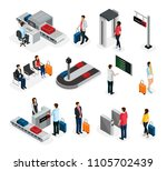 isometric people in airport set ... | Shutterstock .eps vector #1105702439