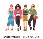 four young women or girls... | Shutterstock .eps vector #1105708616