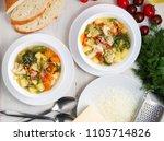 minestrone soup. vegetable soup ... | Shutterstock . vector #1105714826
