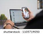 patient listening to friendly... | Shutterstock . vector #1105719050