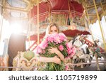 beautiful girl in a dress with... | Shutterstock . vector #1105719899
