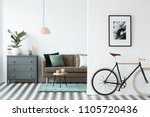 bike and poster on the wall in... | Shutterstock . vector #1105720436