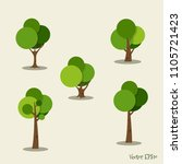 set of abstract tree. vector... | Shutterstock .eps vector #1105721423