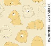stickers a sleepy bear cub.... | Shutterstock .eps vector #1105728689