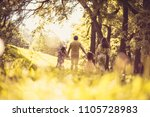 lets have fun in nature . happy ... | Shutterstock . vector #1105728983