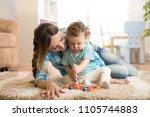 cute little toddler boy and... | Shutterstock . vector #1105744883