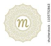 gold mandala monogram. circular ... | Shutterstock .eps vector #1105752863