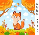 the fox sits in a clearing in... | Shutterstock .eps vector #1105756556