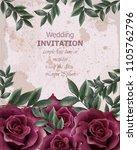 Stock vector wedding invitation with roses vector beautiful rose flowers decor elegant decor vintage background 1105762796