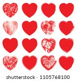 set of hearts . grunge stamps... | Shutterstock .eps vector #1105768100