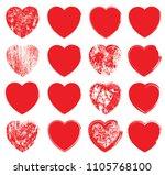 set of hearts . grunge stamps... | Shutterstock .eps vector #1105768100