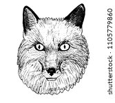 portrait of the fox. line art.... | Shutterstock .eps vector #1105779860