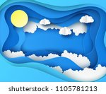 white paper cut clouds and sun... | Shutterstock .eps vector #1105781213