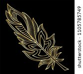 feather isolated on black... | Shutterstock .eps vector #1105785749