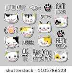 set of cats badges  patches ... | Shutterstock .eps vector #1105786523