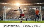 soccer player is celebrating... | Shutterstock . vector #1105794410