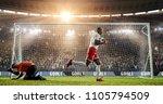 soccer player is celebrating... | Shutterstock . vector #1105794509