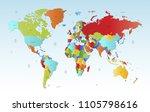 color world map  | Shutterstock .eps vector #1105798616
