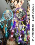 dreamcatchers in a market stall.... | Shutterstock . vector #1105800338
