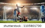 attacker scores a goal  sending ... | Shutterstock . vector #1105801730