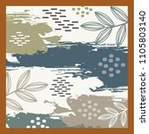 scarf pattern with leaf design | Shutterstock .eps vector #1105803140