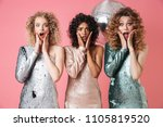 three beautiful surprised women ... | Shutterstock . vector #1105819520