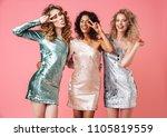 three beautiful cheerful women...   Shutterstock . vector #1105819559