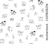 Farm Animals Vector Line...