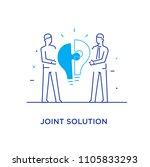 businessmen connect puzzle lamp.... | Shutterstock .eps vector #1105833293