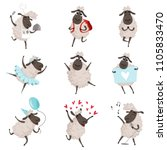 funny cartoon sheeps in various ... | Shutterstock .eps vector #1105833470