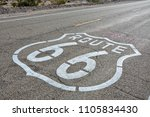 route 66  painted sign on the... | Shutterstock . vector #1105834430