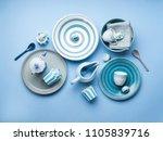 blue pastel ceramic tableware... | Shutterstock . vector #1105839716