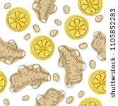 ginger roots with lemon. hand... | Shutterstock . vector #1105852283