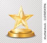 gold star on podium ...   Shutterstock .eps vector #1105854596